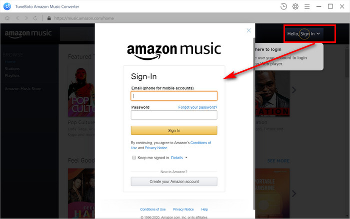 log in with Amazon account