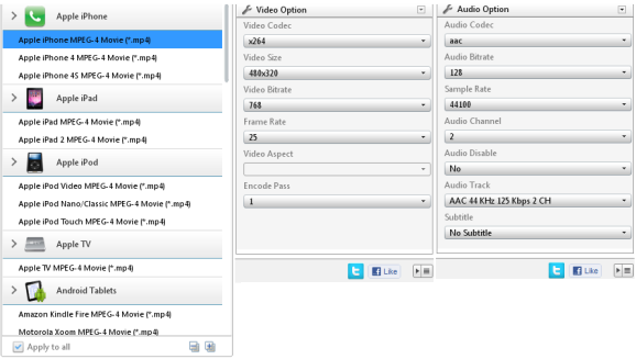 choose output formats of free video converter