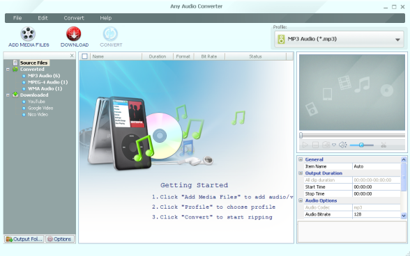 Any Audio Converter Oberfläche