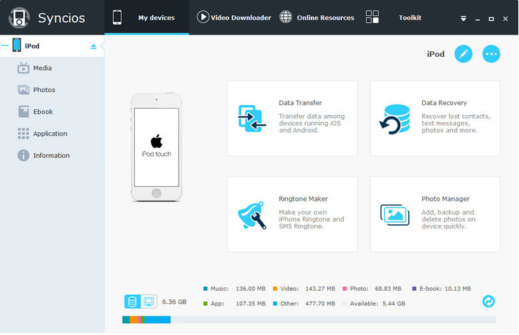 SynciOS mobile Manager for win homepage