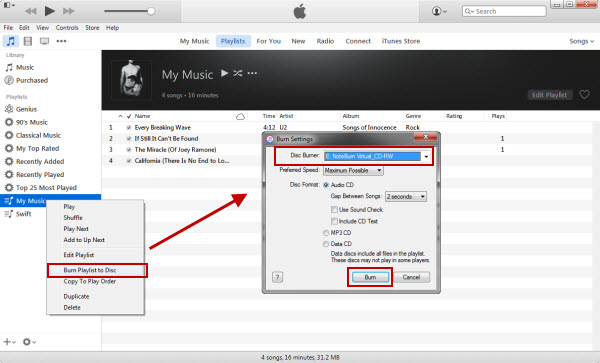 Burn iTunes Music